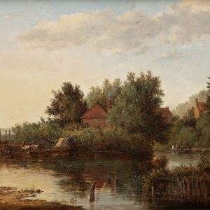 PATRICK NASMYTH-OIL PAINTING-RIVER WEY