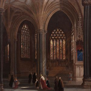 JAMES HOLLAND-OIL-PAINTING-INTERIOR MILAN CATHEDRAL