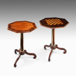 ANTIQUE NEAR PAIR OF BRASS INLAID OCTAGONAL SIDE TABLES