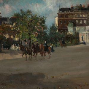 ALBERT LUDOVICI JNR-OIL PAINTING-HORSE & RIDER