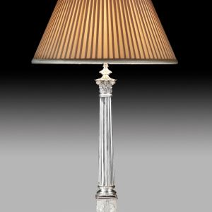 ANTIQUE CORINTHIAN COLUMN SILVER PLATED TABLE LAMP
