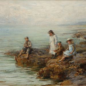 J. MICHAEL BROWN-OIL PAINTING-CHILDREN FISHING