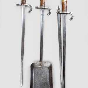 ANTIQUE SET OF THREE FRENCH BAYONET FIRE IRONS