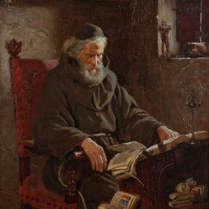 JAMES DOYLE PENROSE-OIL PAINTING-MONASTIC SCRIBE