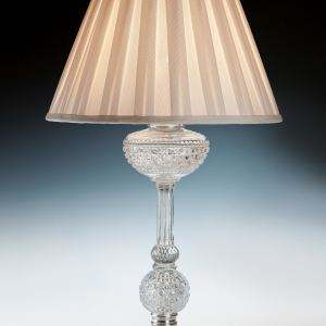 ANTIQUE F & C OSLER GLASS & SILVERED TABLE LAMP