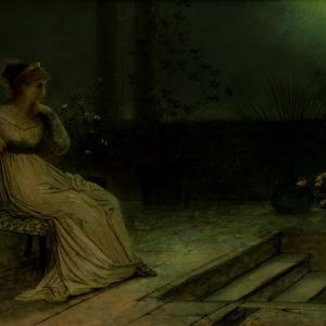 JOHN ATKINSON GRIMSHAW-OIL PAINTING-CLASSICAL MAIDEN
