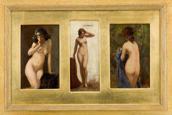 ALLAN DOUGLAS DAVIDSON-OIL PAINTING-THREE FEMALE NUDES