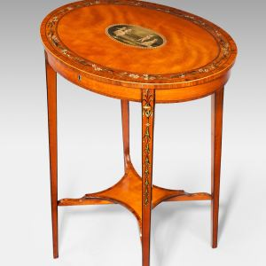 ANTIQUE SHERATON REVIVAL PAINTED SATINWOOD OVAL WORK TABLE