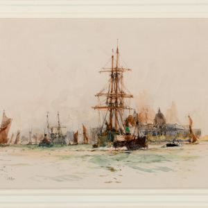 CHARLES DIXON-WATERCOLOUR-OFF GREENWICH