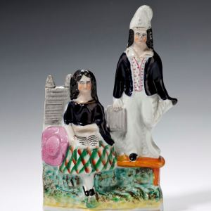 """ANTIQUE STAFFORDSHIRE FIGURE """"THE DUNCE"""""""