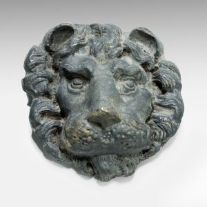 ANTIQUE LEAD LIONS MASK WALL DECORATION