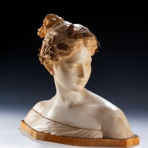 ANTIQUE MARBLE AND GILT BRONZE MOUNTED BUST 'POESIE'