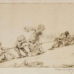 EILEEN SOPER-ETCHING-TUG OF WAR