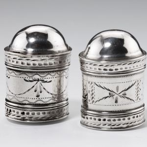 ANTIQUE PAIR OF SILVER CYLINDRICAL NUTMEG GRATERS