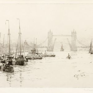 ROWLAND LANGMAID-ETCHING-TOWER BRIDGE LONDON