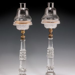 ANTIQUE PAIR OF CUT GLASS CRICK LIGHTS
