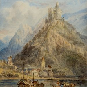 JAMES HOLLAND-WATERCOLOUR-RHINE POSSIBLY MARKSBURG CASTLE