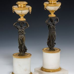 ANTIQUE PAIR REGENCY FIGURAL CANDLESTICKS MARBLE ORMOLU & BRONZE