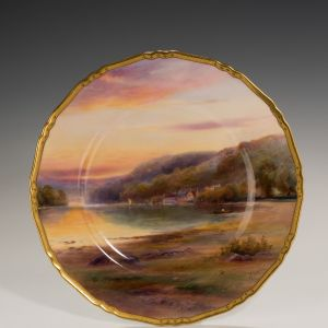 ROYAL WORCESTER PLATE-RIVER DART-HARRY DAVIS