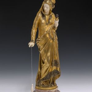 A CARRIER BELLEUSE-BRONZE & IVORY-THE SPINNER