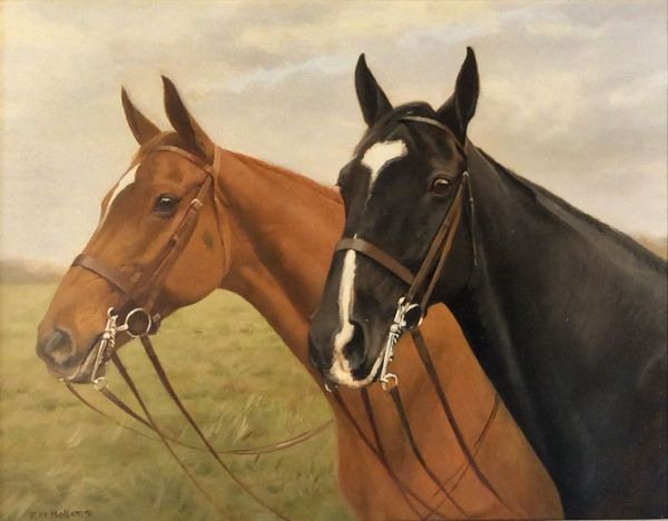 FRANCIS MABEL HOLLAMS-OIL PAINTING-TWO HORSES