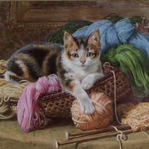 BASIL BRADLEY-WATERCOLOUR PAINTING-KITTEN