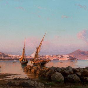 ALESSANDRO LA VOLPE OIL PAINTING BAY OF NAPLES MARINE
