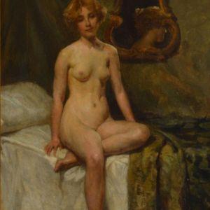 ALLAN DOUGLAS DAVIDSON-OIL PAINTING-FEMALE NUDE STUDY