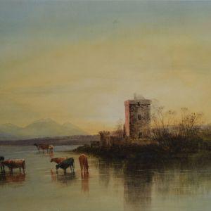 ANDREW NICHOLL WATERCOLOUR CATTLE WATERMEADOW
