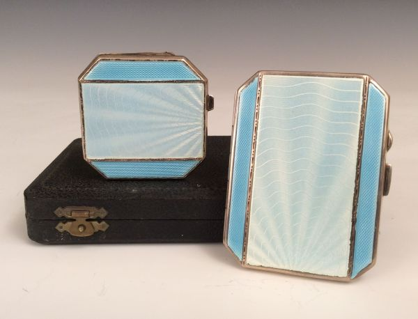 ART DECO SILVER AND GUILLOCHE ENAMEL SET