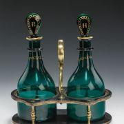 Bristol-Green-decanters-pair-mallet-shaped-Rum-Holland-papier-mache-stand-antique-5429_1_5429