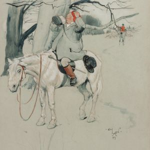 CECIL CHARLES WINDSOR ALDIN WATERCOLOUR HUNTING
