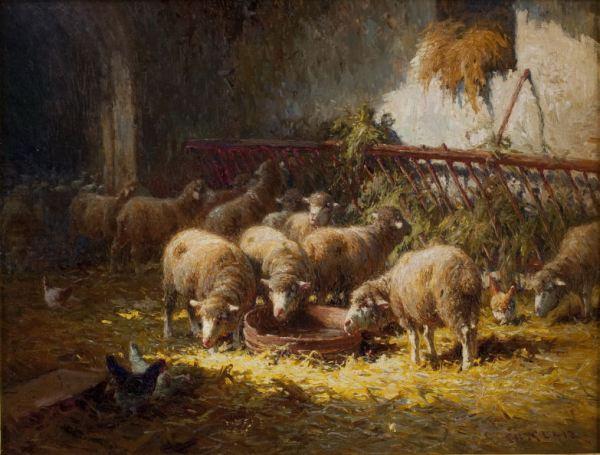 CHARLES H CLAIR OIL PAINTING SHEEP FARMYARD