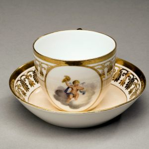 ANTIQUE COALPORT PORCELAIN CUP AND SAUCER THOMAS BAXTER