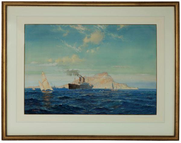 David-Roy-MacGregor-watercolour-orient-liner-Gibraltar-antique-3723_1_3723