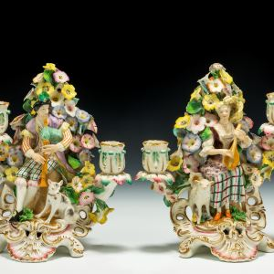 ANTIQUE PAIR DERBY BLOOR PERIOD PORCELAIN MUSICIANS