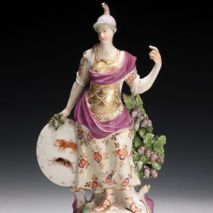 ANTIQUE DERBY PORCELAIN FIGURE OF FEMALE WARRIOR BRITANNIA