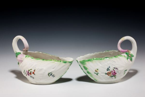 ANTIQUE PAIR DERBY PORCELAIN COS LETTUCE LEAF SAUCEBOATS