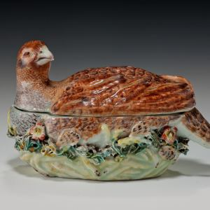 ANTIQUE DERBY PORCELAIN PARTRIDGE TUREEN