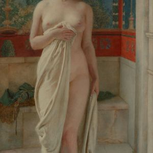 FORTUNINO MATANIA-WATERCOLOUR PAINTING-BATHING BEAUTY