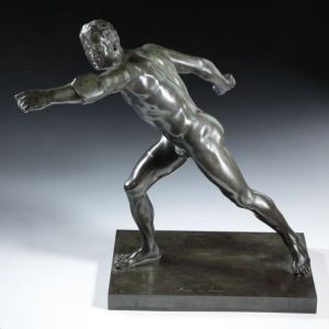 ANTIQUE GRAND TOUR BRONZE SOUVENIR BORGHESE GLADIATOR