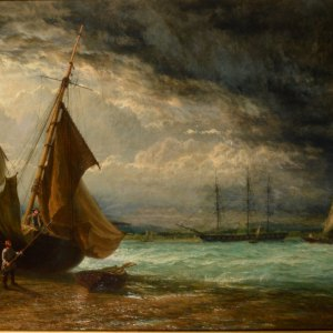 HENRY DAWSON-OIL PAINTING-RIVER THAMES