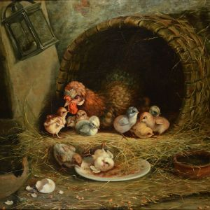 A SCHLATTER-OIL PAINTING-CHICKENS MOTHER & BROOD