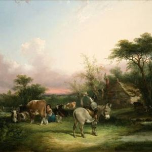 HENRY THRING SHAYER CHARLES WALLER SHAYER OIL PAINTING CATTLE DONKET COUNTRYSIDE