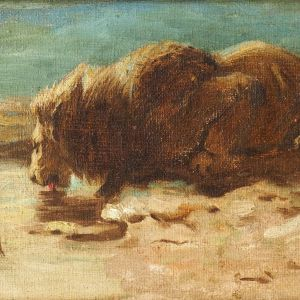 HERBERT THOMAS DICKSEE OIL PAINTING LION ANIMAL