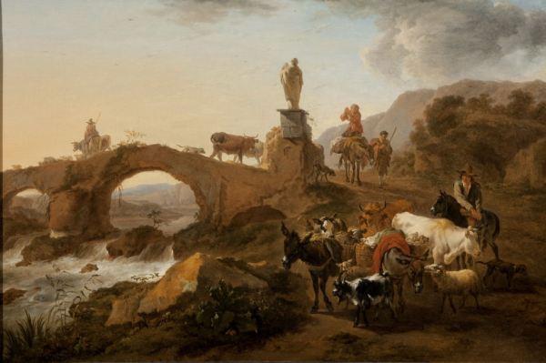 JOHANNES VAN DER BENT OIL PAINTING RIVER LANDSCAPE CATTLE