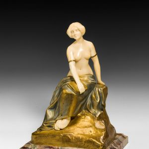 LOUIS SOSSON BRONZE IVORY FIGURE GIRL FEMALE
