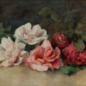 LOUISE ELLEN PERMAN WATERCOLOUR STILL LIFE FLOWERS