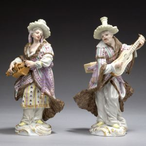 RARE PAIR OF MEISSEN PORCELAIN FIGURES OF MALABARS BY MEYER