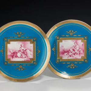 ANTIQUE PAIR MINTON PORCELAIN PLATES AFTER SEVRES DESIGNS